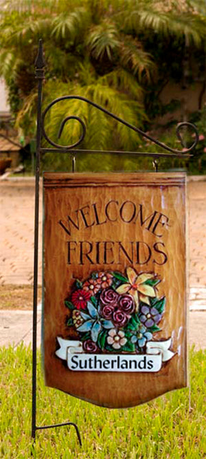 Welcome Friends Personalized Yard Sign with yard stake
