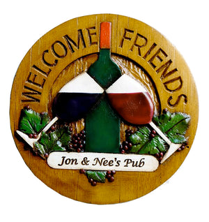 Welcome Friends Wine Wall Plaque item 778D