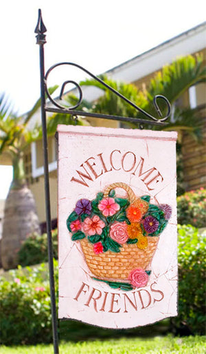 Welcome Sign Garden Yard Stake with Flower Basket Sign