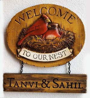 Cardinals Welcome Sign personalized, Welcome to our Nest sign