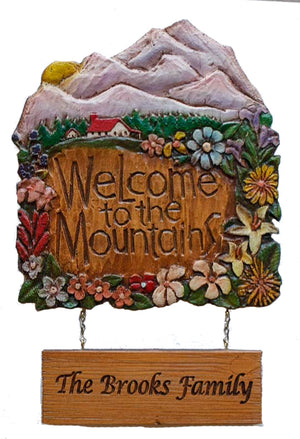 Welcome to the Mountains Personalized Sign