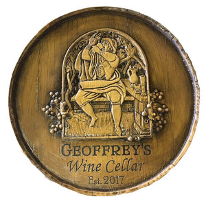 Wine Barrel Personalized Carved Wine Cellar Sign