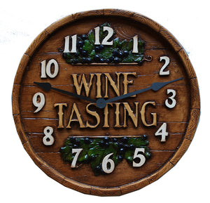 Wine Barrel Wine Tasting Clock