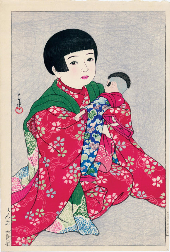 Hasui: Young girl with Doll