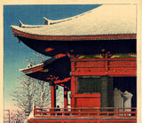 Hasui: Clearing After a Snowfall at the Asakusa Kannon Temple