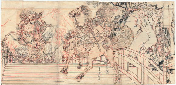 Yoshitoshi: Preparatory Drawing of Warriors on Bridge