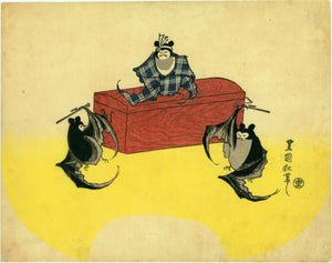 "Utagawa Toyokuni II: A bat thief on a chest cornered by two bat policemen. The signature reads ""The Mad Brush of Toyokuni""."