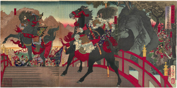 Yoshitoshi: Zhang Fei Glaring Down the Enemy