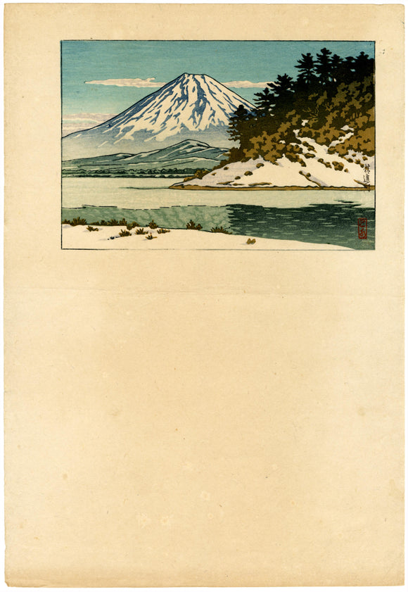 Hasui: Calendar Print Proof of Mount Fuji