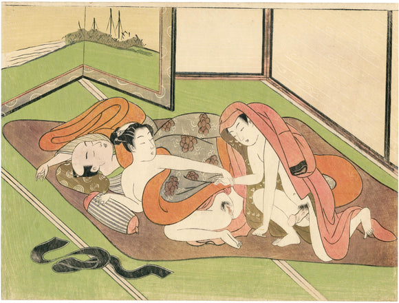 Suzuki Harunobu: Lovers next to sleeping man