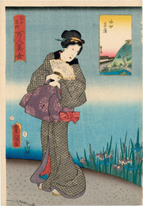 "Kunisada: ""Famous Places in Edo Compared with 100 Beauties"""