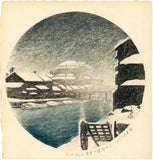 Hasui: Evening Snow at Sanjûgen Canal