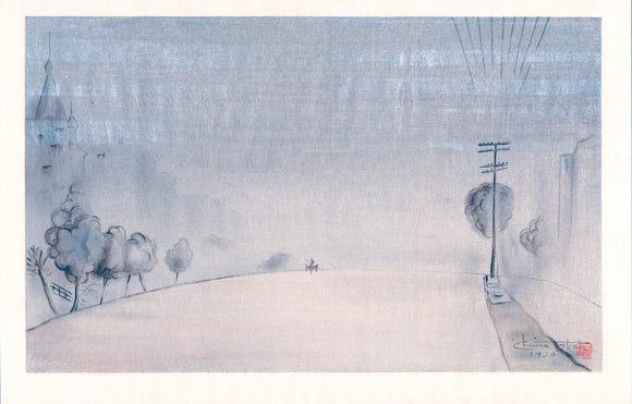 "Obata: ""Foggy Morning, Van Ness Avenue, San Francisco"". Silver mist enhances the pervading fog in this minimalist scene of Obata's adoptive city."