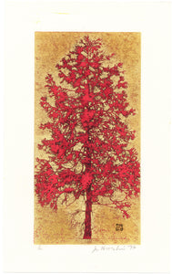 "Hoshi Jōichi: ""Red"" Tree.. Hoshi employed a unique technique to render such astonishing effects, using woodblocks, gold leaf, oil paints and a blowtorch."