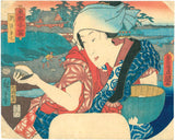 Kunisada: Suzaki Benten; Fan print of beauty holding clam