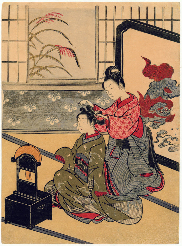 "Suzuki Harunobu: ""The Autumn Moon in the Mirror"" from the series ""Eight Parlor Views""."