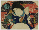 Kunisada: Beauty with mirror and fan
