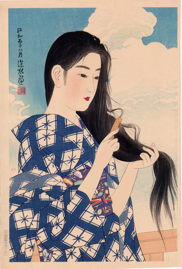 Itō Shinsui: After Washing Her Hair (Araigami)