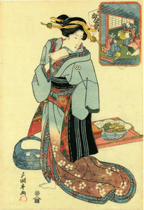 Utagawa Sadakage I: A woman at a restaurant