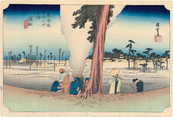 Hiroshige: Farmers warm themselves at this winter scene at Hamamatsu, from the Hôeido Tokaido series. First state.