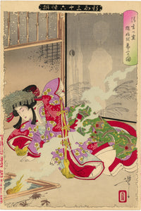 Yoshitoshi: The beautiful Sakurahime is disturbed by the ghost of Seigen, who loved her to the point of obsession.