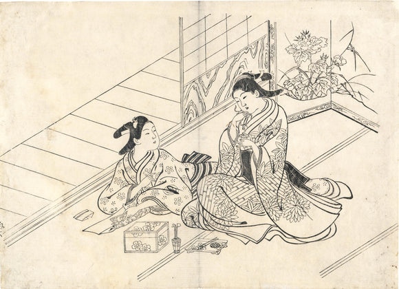 Hasegawa Mitsunobu: A couple plays the incense-guessing game.