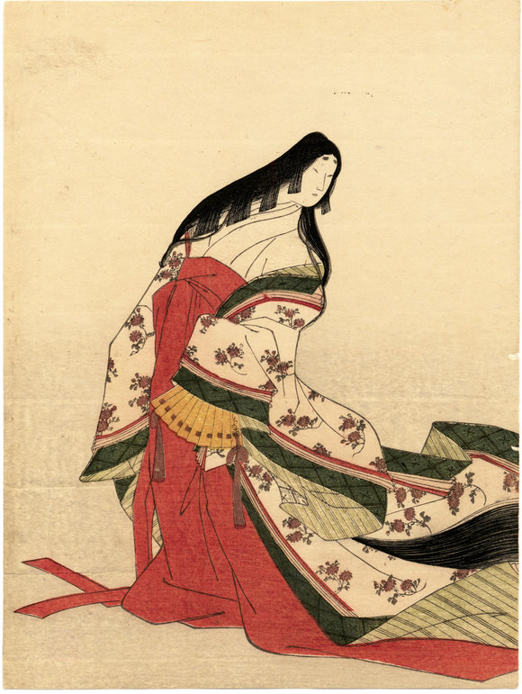 "Hosoda Eishi: Poetess Izumi Shikibu, from the album ""Thirty Six Immortal Poetesses in Brocade Prints""."