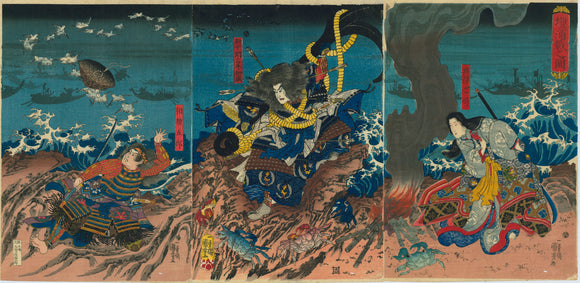 Kuniyoshi: Taira Tomomori prepares to jump into the sea