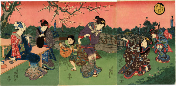 Kunisada: Beauty Triptych of Gathering Herbs