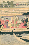 Hosoda Eishi: Beauties on a boating party