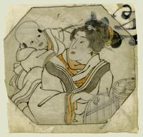 Kuniyoshi: Small drawing of girl with baby