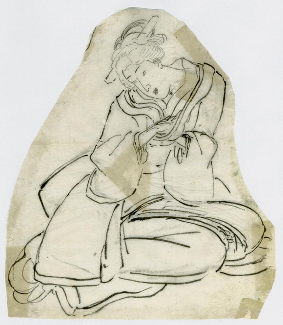 Kuniyoshi: Drawing of a seated beauty