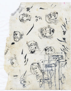 Kuniyoshi: Brush drawing:study of faces