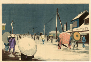 Kiyochika: Snow at Ryôgoku