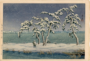 Hasui: Snow at Hi Marsh, Mito