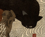 Saitō Kiyoshi: Black Cat and Kittens (Sold)