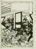 Yoshitoshi: Preparatory drawing for a print: Scene of attack in a tea house