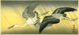Ohara Kōson: Two flying egrets