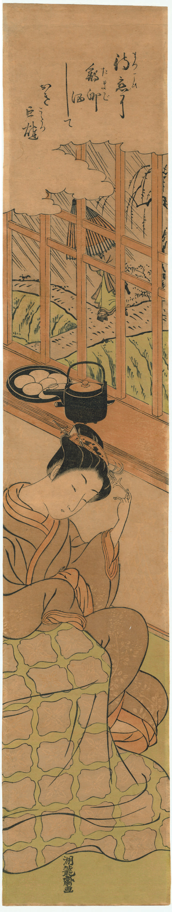 Isoda Koryūsai: Seated Courtesan Waiting for her Lover