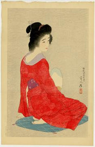 "Torii Kotondo: ""Long Undergarment"".  The beauty's softly-patterned red robe is one of five color variations of this print. #188/300"