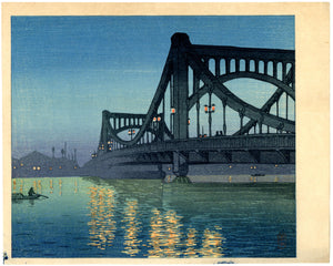 Hasui: Night Scene, Kiyosu Bridge
