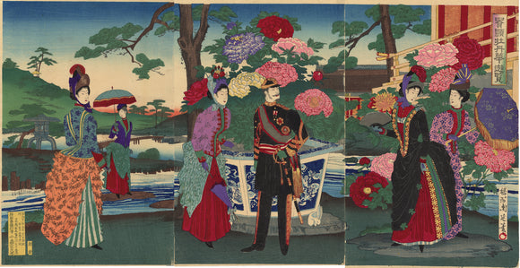 Chikanobu: Emperor Meiji and Empress Viewing Peony Flowers