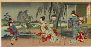 Chikanobu: Beauties and Fireflies Triptych