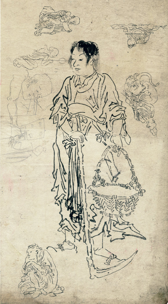 Kawanabe Kyōsai (School of): Picture of Taishun (Shunshi) of Paragon of Filial Piety (Sold)