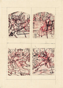 Four small sketches of battle
