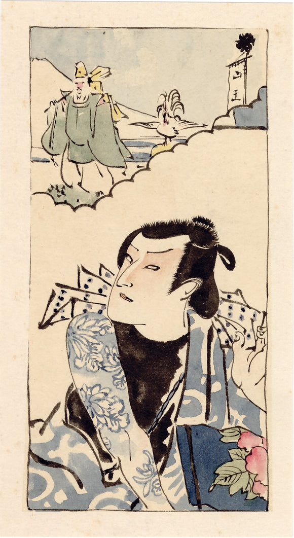 Utagawa School Painting of Actor with Tattoo