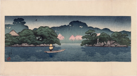 Hasui  巴水: Small Boat in a Spring Shower (Sold)