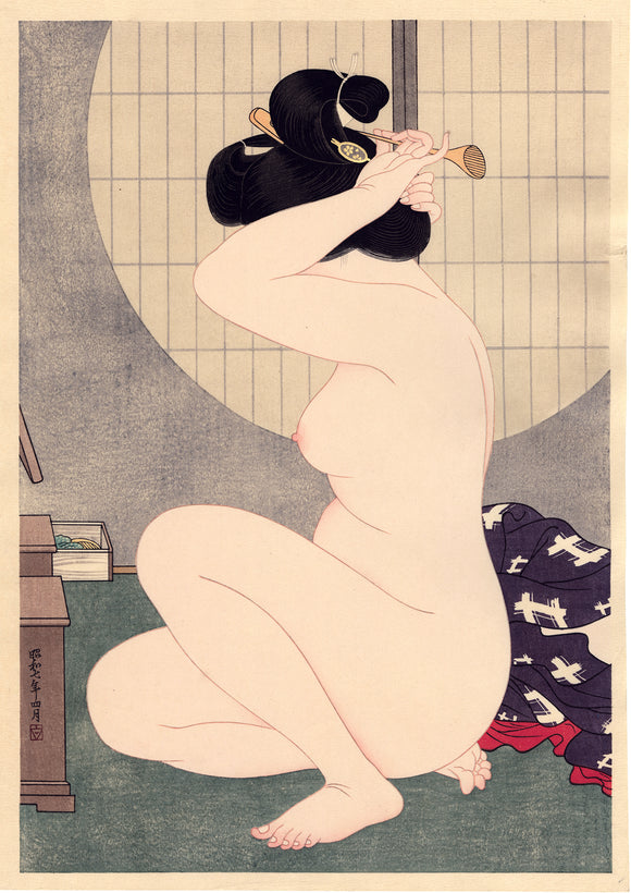Hirano Hakuho 平野白峰: Arranging Hair After the Bath (SOLD)