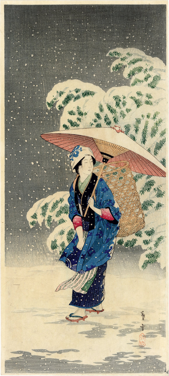 Hiroaki  高橋松亭: Snow at Twilight (Spring Snow)