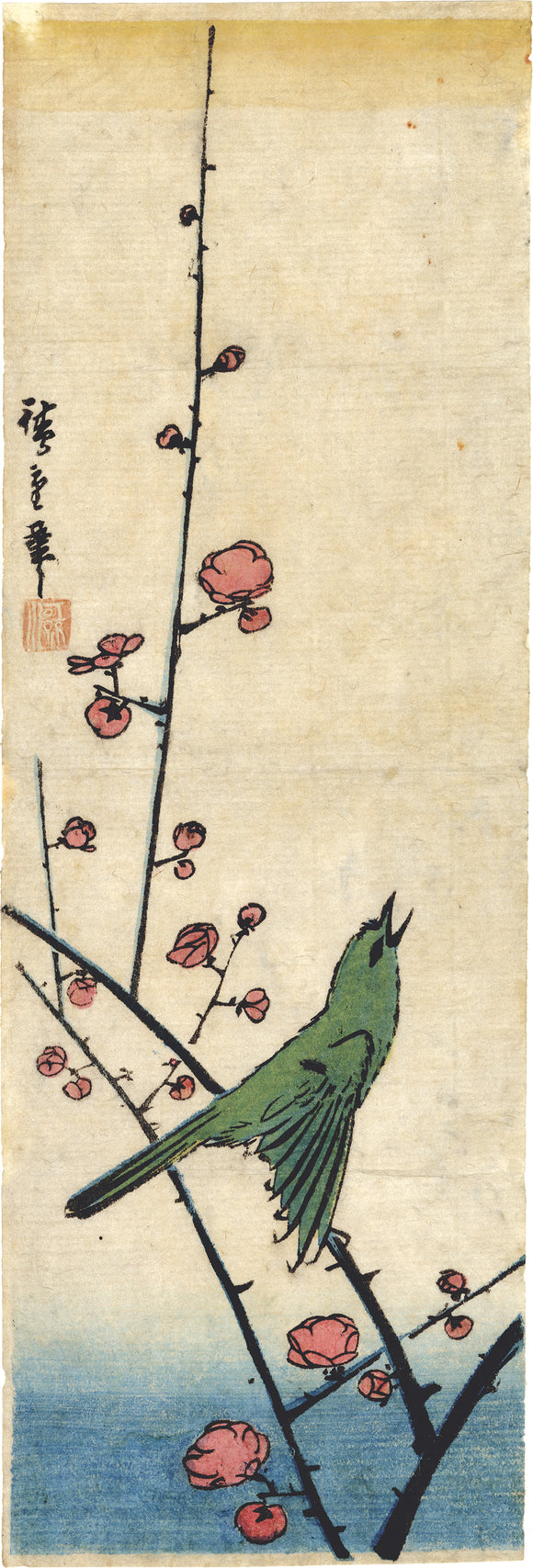 Hiroshige 広重:  Bush Warbler Singing on a Flowering Plum